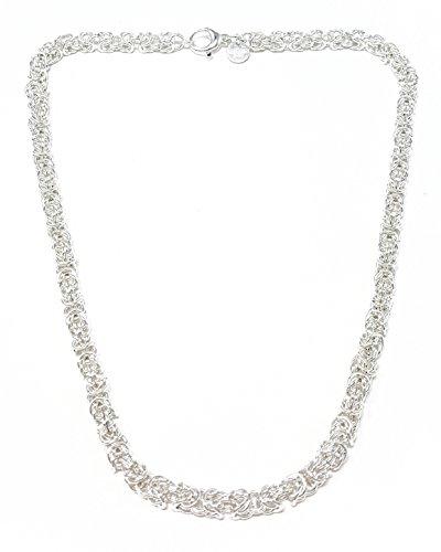 Königskette rund versilbert 6 mm 55 cm Halskette Silberkette Herren-Kette rund Damen Geschenk Schmuck ab Fabrik Italien tendenze BZSRO6-55v