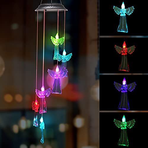Solar Angel-Shaped Lamp with Colorful Light Wind Chimes Lamp for Courtyard Garden…