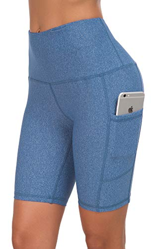 Custer's Night High Waist Running Workout Leggings for Yoga with Pockets Blue Snow Dot XL