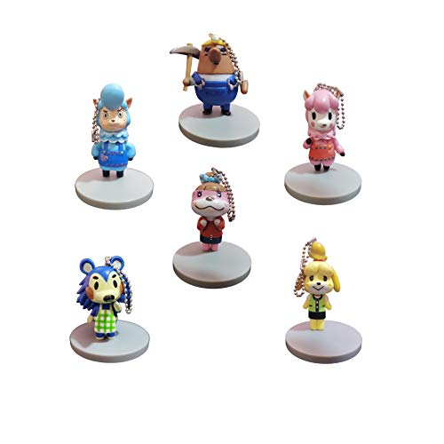 Juego llaveros Animal Crossing Llavero Juego de 6 Piezas Animal Crossing Friends Association Colección Animal Crossing Muñecas circundantes Pequeño Colgante Charm Toy Perch Stump Fossil