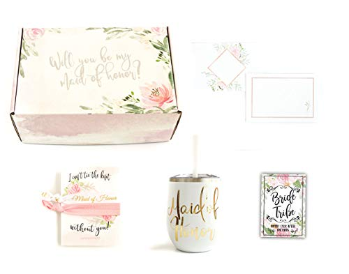 Maid of Honor Wedding Proposal Gift Box Set for Best Friend with Wine Tumbler and Hair Ties (White Tumbler)