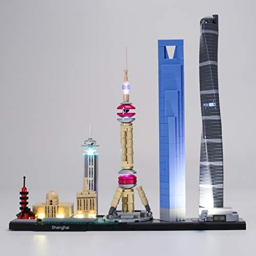 YOU339 LED Licht Set für Lego Architektur Shanghai 21039, USB betriebenes LED Licht Kleines Teilchen, BAU Baustein Montage Spielzeug Kit (LED Licht Enthalten Nur)