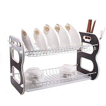 Escurreplatos TopLife de acero inoxidable para la cocina 2 niveles acero inoxidable Plateado