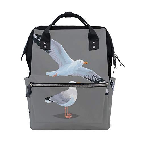 Fliegende Möwe weiße Vögel im Himmel große Kapazität Wickeltaschen Mama Rucksack Multi Funktionen Windel Pflege Tasche Tote Handtasche für Kinder Babypflege Reisen täglich Frauen