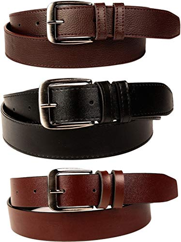 SORSHORE Men's Artificial Leather Belt (Black, Free Size) -Combo of 3
