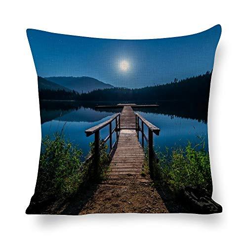 N/ A - Fundas de almohada con diseño de puente de madera, color marrón, paisaje decorativo con luz de la luna, color azul marino, funda de cojín con impresión de fotos para sofá de 40,6 x 40,6 cm l7bo0h4v0bnv
