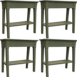 Adams Manufacturing 9303-01-3700 36-Inch Deluxe Garden Planter Sage Green, Set of 4 + Free Home Decor