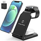 Wireless Charging Station,Popveen 3in1 Wireless Charger Stand with Adapter 15W Fast Wireless Charging for Apple iWatch Series SE/6/5/4/3/2/1,AirPods 2/Pro, Compatible for iPhone 12/11 Series