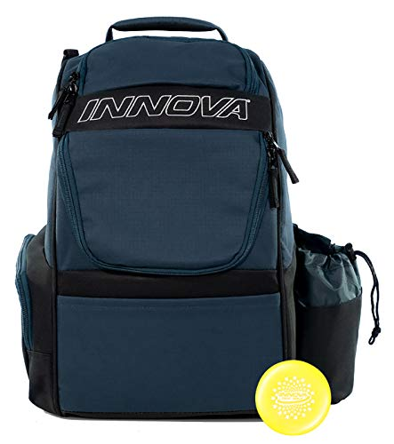Innova Adventure Pack Backpack Disc Golf Bag – Holds 25 Discs – Lightweight – Includes Innova Limited Edition Stars Mini Marker (Navy/Black)