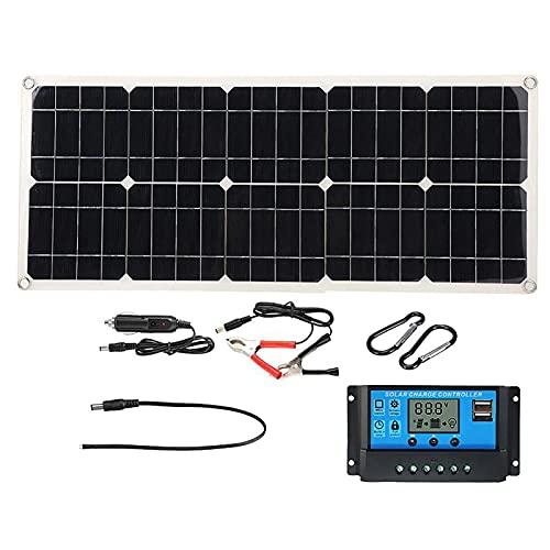 Kit de Panel Solar de 100W, Sistema Solar de Paneles fotovoltaicos de 100W, Kit de Cargador USB Dual de 18 V / 5 V CC, con Cables de Controlador Solar