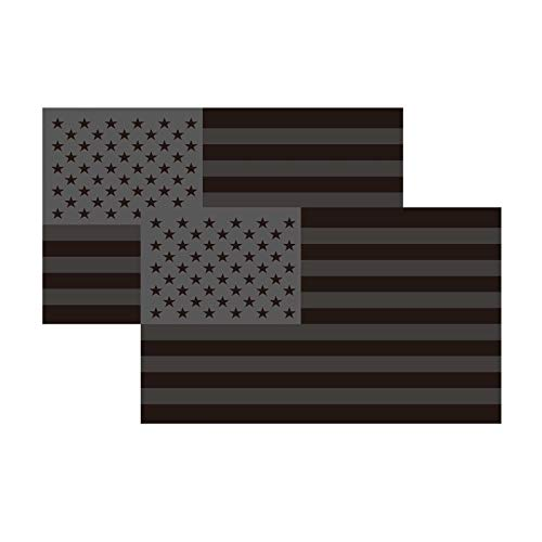 2-Pack All Black American Flag Bumper Sticker Decal, US Black Flag Decal-All Black American Flag, Decals for Laptop Car Bumper Window Decorations,Vivid Color and UV Fade Resistant 3×5'