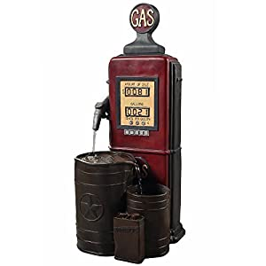 "Peaktop FI0002AA Outdoor Floor Vintage Gas Station Statue Waterfall Water Fountain with Pump for Patio Garden Backyard Decking, 41"", Red"