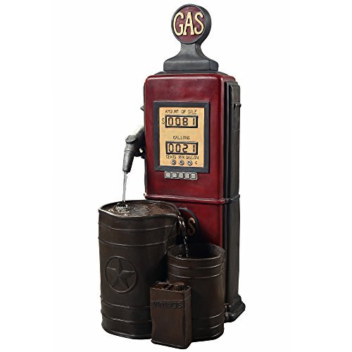 Peaktop FI0002AA Outdoor Floor Vintage Gas Station Statue Waterfall Water Fountain with Pump for Patio Garden Backyard Decking, 41