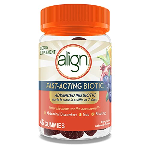 Align Fast-Acting Biotic, Advanced Prebiotic, Works in as Little as 7 Days, Helps Soothe Occasional* Abdominal Discomfort, Gas, Bloating, 46 Gummies