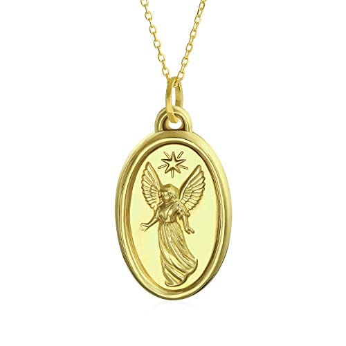 14K Oro Amarillo Real Medalla Religiosa Ángel De La Guarda Colgante Collar Para Mujer 14K Cadena De Oro