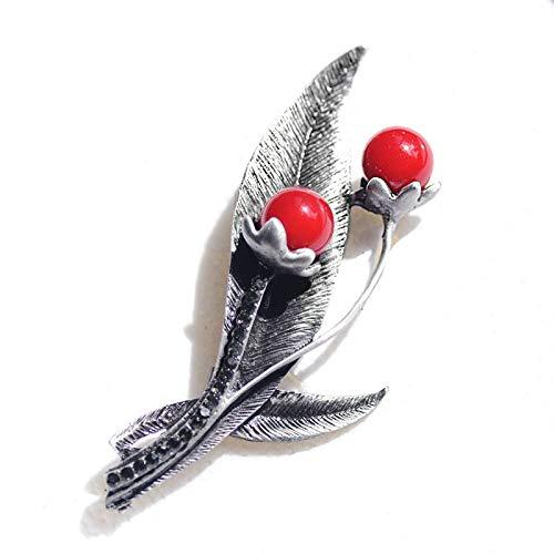 DCDXZ Roter Stein Vintage Blumenblätter Brosche Blumenstrauß Kleider Pin Antique Metall Broschen und Pins für Frauen BB062290
