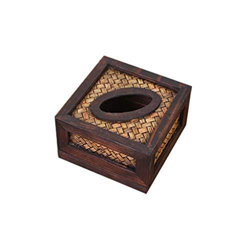 Portarrollos para papel higiénico Caja de pañuelos de bambú creativa Caja de pañuelos de madera de la vendimia Salón familiar Coche con bandeja de mimbre Durable Portarrollos para papel higiénico