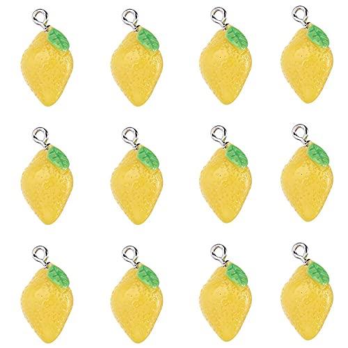 20 ciondoli in resina di limone, per orecchini fai da te, bracciali, collane e creazioni artigianali