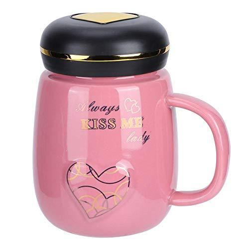Taza Taza de café Taza de cerámica moderna e innovadora con diseño de corazón Taza de té de café con leche con tapa para la oficina en casa(Rosa)