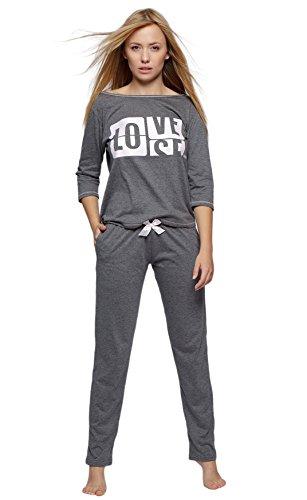 SENSIS modischer Baumwoll-Pyjama Schlafanzug Hausanzug aus lässigem Shirt und Hose, Graphit, Gr. M (38)