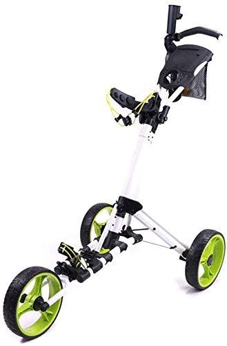 YLLN 3-Rad-Push-Pull-Golfwagen, kompakter Pull-Caddy-Wagen, zusammenklappbarer Golf-Pull-Wagen mit Regenschirmständer, Fußbremse und Getränkehalter