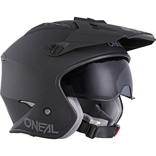 O'NEAL | Casco de Motocicleta | Moto Enduro | Estándares de Seguridad ECE 22.05, Carcasa ABS, Visera Solar integrada | Casco Volt Solid | Adultos | Negro | Talla XL