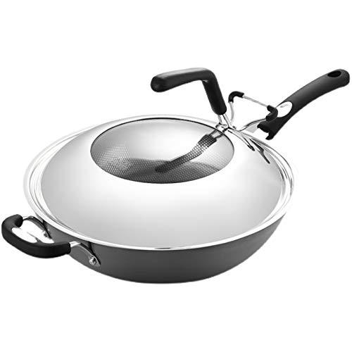 SHUILV Cocineros estándar de acero inoxidable SOJO FRY FRATE CON LA TAPA DE DOME MULTI-CLAD WOK, (Color: Plata)