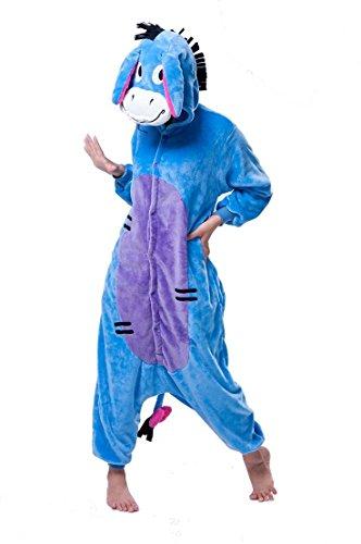 Zeichentrickfiguren Winnie The Pooh Piglet Eeyore Donkey Esel Tigger Tiger Känguru Onesie Kigurumi Pyjama Karneval Kostüm Maskenkostüm Kapuzenpulli Schlafanzüge Eeyore Donkey, S(Height 150cm-160cm)