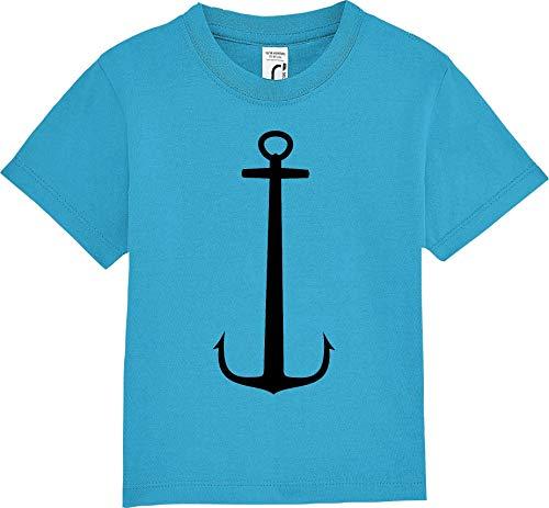Kleckerliese Baby Kinder T-Shirt Kurzarm Sprüche Jungen Mädchen Shirt Nicki mit Aufdruck Anker Meer Heimat, Aqua, 6-12 Monate