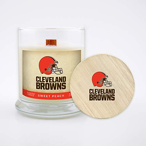 Worthy Promo NFL Scented Candle 8 Oz Soy Wax, Wood Wick and Lid, Cleveland Browns (Peach)