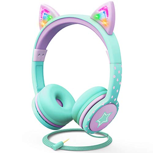 FosPower Kids Headphones with LED Light Up Cat Ears 3.5mm On Ear Audio Headphones for Kids with Laced Tangle Free Cable (Max 85dB) - Teal/Light Purple