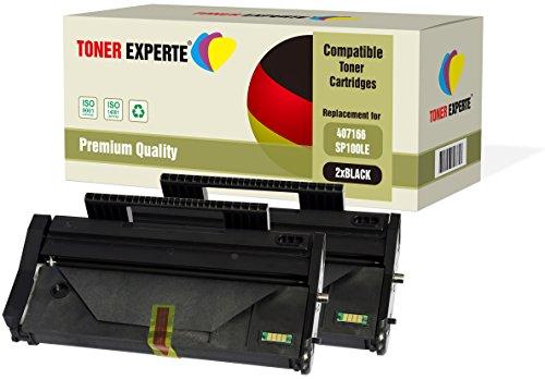 Pack de 2 TONER EXPERTE® Compatibles 407166 Cartuchos de Tóner Láser para Ricoh SP 100LE, SP 100, SP 100e, SP 100SF, SP 100SFe, SP 100SU, SP 100SUe, SP 110, SP 112, SP 112e, SP 112SF, SP 112SU ✅