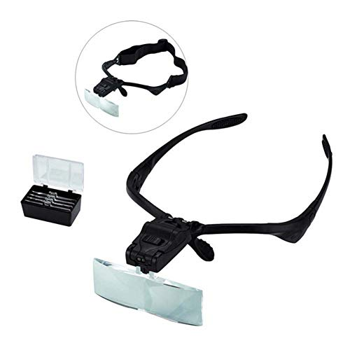 FZYQY Gafas Lupa con LED Luz Manos Libres Cabeza Lupas de Aumento,5 Lentes Reemplazables(1.0X-3.5X) para Leer,de Reparación Relojes,Costura,Manualidades