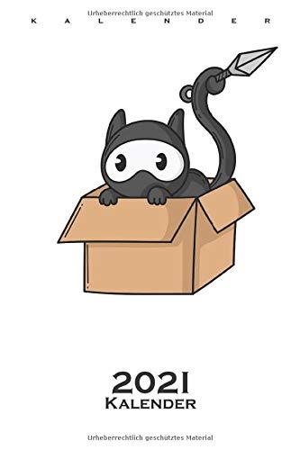Ninja Katze im Karton Kalender 2021: Jahreskalender für Fans der leisen Spione Japans