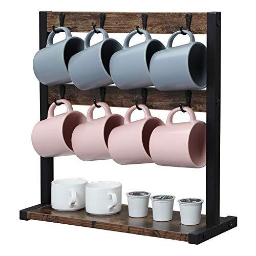 OROPY Vintage Wood Coffee Mug Holder Stand, 2 Tier Countertop Mug Tree Holder Rack for Coffee Mugs Cups, Holds 16 Mugs (Dark Brown)