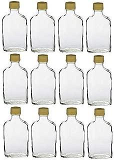 Nakpunar 12 pcs Glass Flask Bottles with Gold Tamper Evident Cap (12, 200 ml Gold)