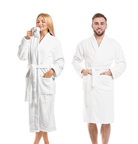 Terry Bathrobes Towel Unisex Bathrobes for Men & Women Lightweight Side Pockets White Bathrobes Unisex Hotel Quality Luxury Bathrobe Absorbent Soft Cotton.