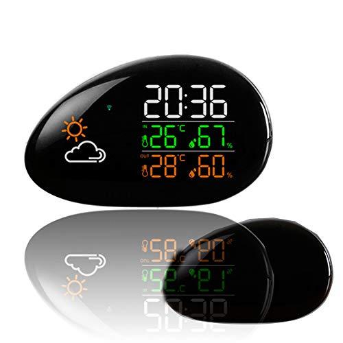 LICHUXIN Wetterstation Produkt displaymoon Anzeige Luftfeuchtigkeit Komma Wecker ausgestattet Mondphase führte Hintergrundbeleuchtung Form Touch Wetter dynamische Farbe Wetter natürliche Dimmung
