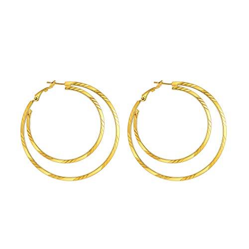 PROSTEEL 18k vergoldet Ohrringe für Frauen Mädchen 60mm Groß Doppel Kreis Creolen Ohrringe Damen Doppel Kreis Hoop Earrings Ohrpiercing Accessoire Schmuck Geschenk für Valentinstag