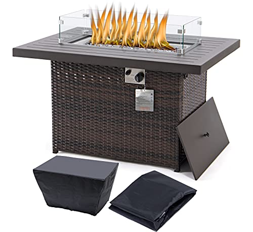 Rectangle fire Pit Table Propane fire Pit...