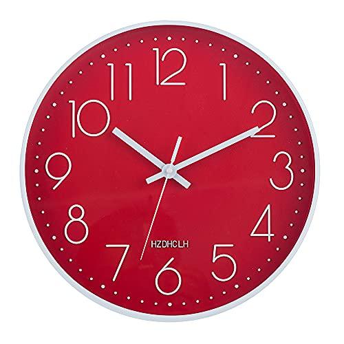 HZDHCLH - Reloj de pared silencioso sin tictac, 30 cm, moderno, decoración para salón, cocina, dormitorio