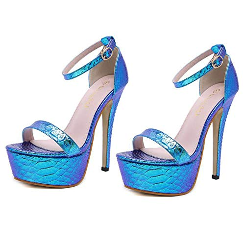 Sandalias Plataforma impermeable Punta estrecha Mujeres señoras Boca de pescado con hebilla Zapatos de corte sexy para discoteca Bombas Verano Super fino Tacón alto 14.5CM
