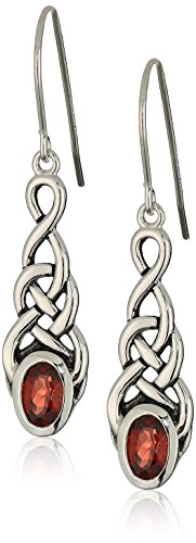 Sterling Silver Genuine Garnet Celtic Knot Linear Drop Earrings