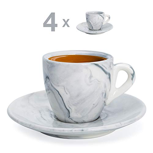 Hausmann & Söhne Espresso Tassen dickwandig | Set 8-TLG | 4er Set graue Marmor Tassen mit Untertassen | Porzellan | Tasse 80ml | Espresso Tassen Set mit Untersetzer | Geschenkidee