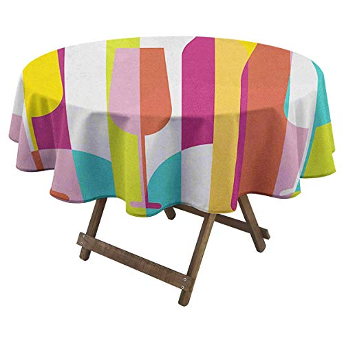 Zara Henry Wine Round Tablecloth Colorful Abstract Wine Bottle Glass Silhouettes Modern Party Drinks Geometric Design Beautiful Pattern D 60' Multicolor