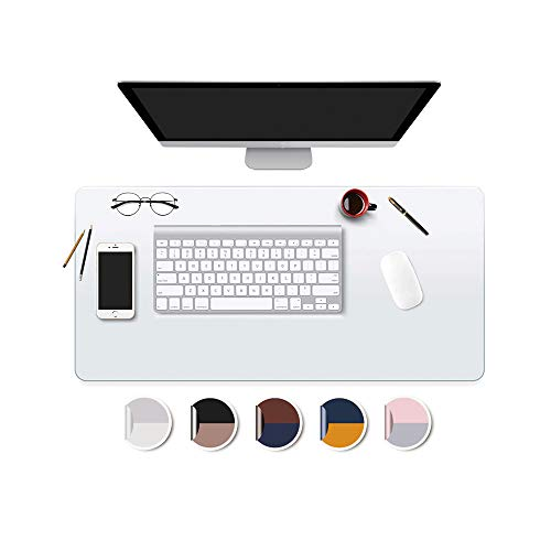 Clear Desk Mat Pad Blotter Mat Office Home Table Desk Protector Vinyl on Top of Desks for Laptop Computer Desktop Keyboard Pads Plastic Crystal Wipeable Non-glare Mat Waterproof with Mous Pad 16x32 In