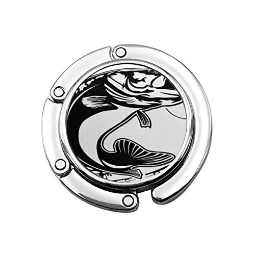 Folding Handbag Hanger Purse Hook,Walleye Fishing Bass Fish Club Emblem White Jump Black Lure Vintage