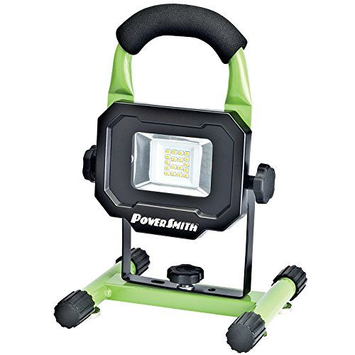PowerSmith PWLR1110M 900 Lumen LED Weatherproof Tiltable Portable Lithium-Ion Battery-Powered Cordless Work Light with Magnetic Base, Impact-Resistant Glass Lens, and Charger