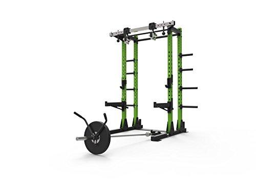 Primal Strength Stealth - Estantería de Media Potencia para Fitness Comercial con Asas giratorias y Barra de Acoplamiento