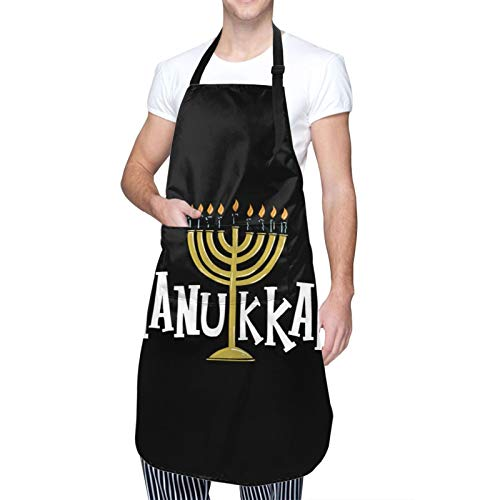 Moaulu Hanukkah Menorah - Funny Aprons for Men, Women with 2 Pockets for Kitchen Crafting BBQ Outdoors
